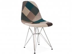 Image de la chaise design Silla DSR acolchada - Patchwork azul