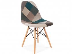 Image de la chaise design Silla DSW acolchada - Patchwork azul