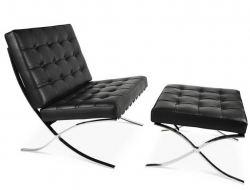 Image de la chaise design Silla y ottoman Barcelona - Negro