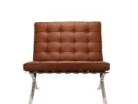 Image de la chaise design Silla y ottoman Barcelona - Premium Cognac