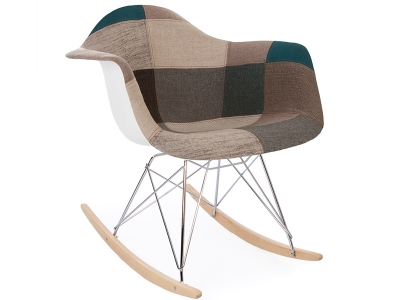 Image de la chaise design Eames rocking chair RAR - Patchwork azul