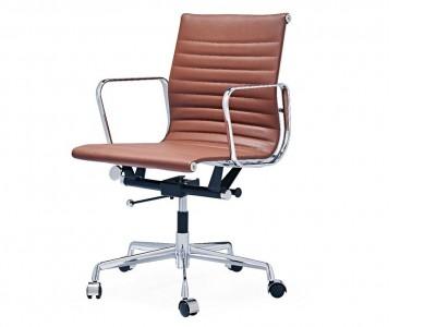 Image de la chaise design Silla Eames Alu EA117 - Cognac