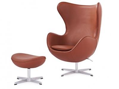Image du fauteuil design Sillón Egg Arne Jacobsen - Cognac