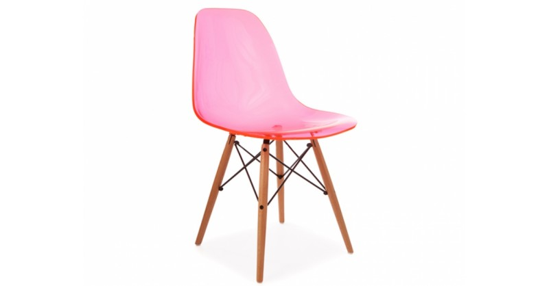 Chaise eames dsw rose transparent for Chaise eames rose