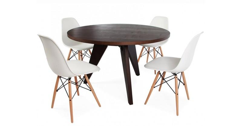 e tisch prouv rund mit 4 st hlen. Black Bedroom Furniture Sets. Home Design Ideas