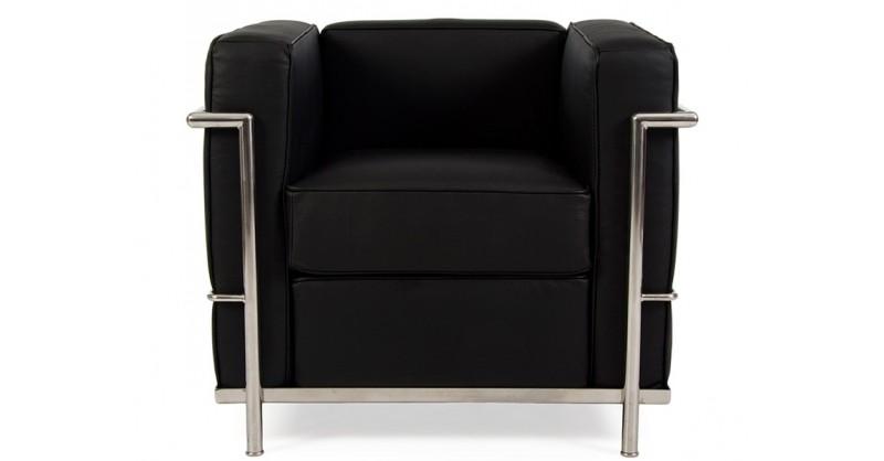 lc2 fauteuil le corbusier noir. Black Bedroom Furniture Sets. Home Design Ideas