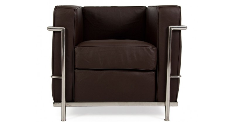 lc2 sessel le corbusier dunkelbraun. Black Bedroom Furniture Sets. Home Design Ideas