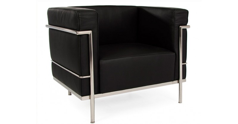 lc2 chair large le corbusier black. Black Bedroom Furniture Sets. Home Design Ideas