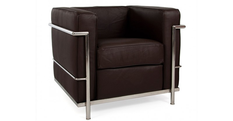 lc2 fauteuil le corbusier marron. Black Bedroom Furniture Sets. Home Design Ideas