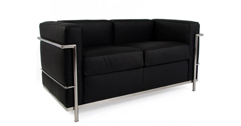 lc2 le corbusier 2 places noir. Black Bedroom Furniture Sets. Home Design Ideas