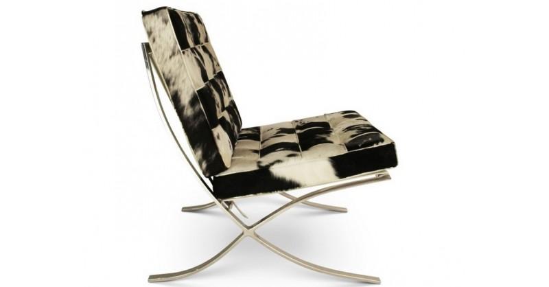 Chaise et ottoman barcelona noir blanc - Chaise noir et blanc ...