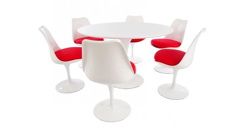 tulip tisch saarinen mit 6 st hlen. Black Bedroom Furniture Sets. Home Design Ideas