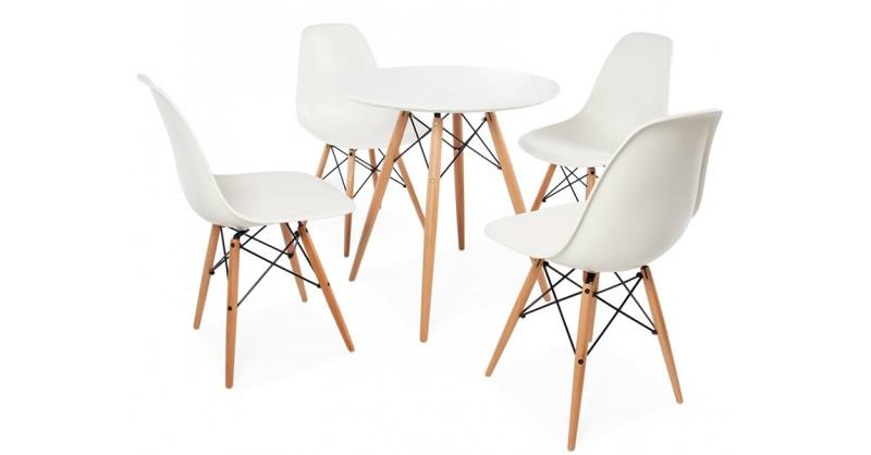 beistelltisch eames mit 4 st hlen. Black Bedroom Furniture Sets. Home Design Ideas