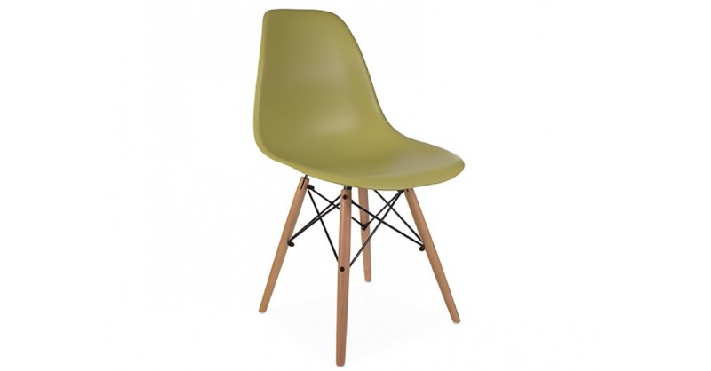 Chaise dsw vert moutarde for Chaise dsw jaune moutarde