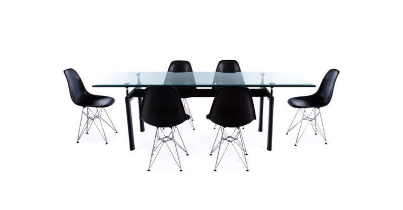 LC6 Le Corbusier Tisch und 6 Stühlen