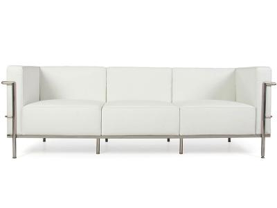 lc2 3 sitzer le corbusier large wei. Black Bedroom Furniture Sets. Home Design Ideas